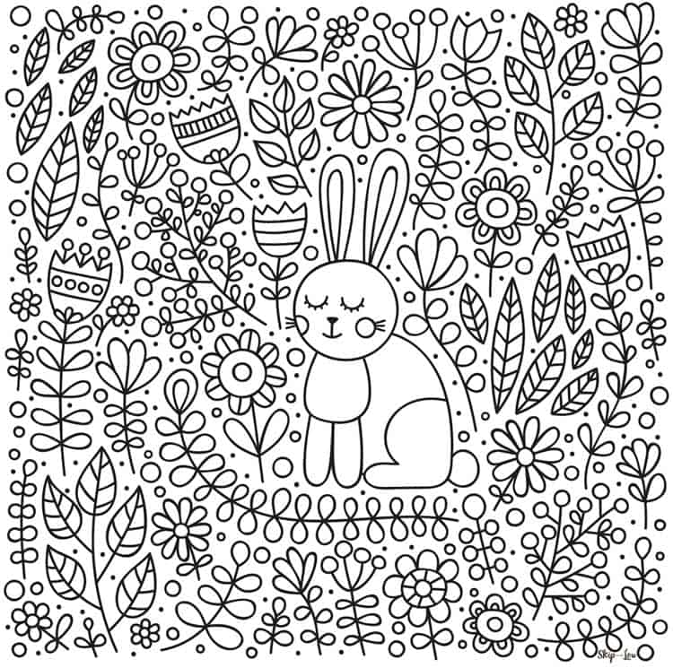 Cute Bunny with Flowers Coloring Page | Skip To My Lou