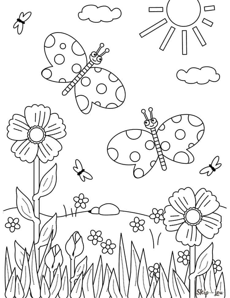 flowers butterflies sun printable coloring page