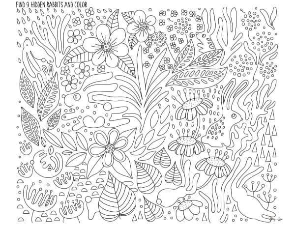 9 hidden rabbits hiding in coloring page