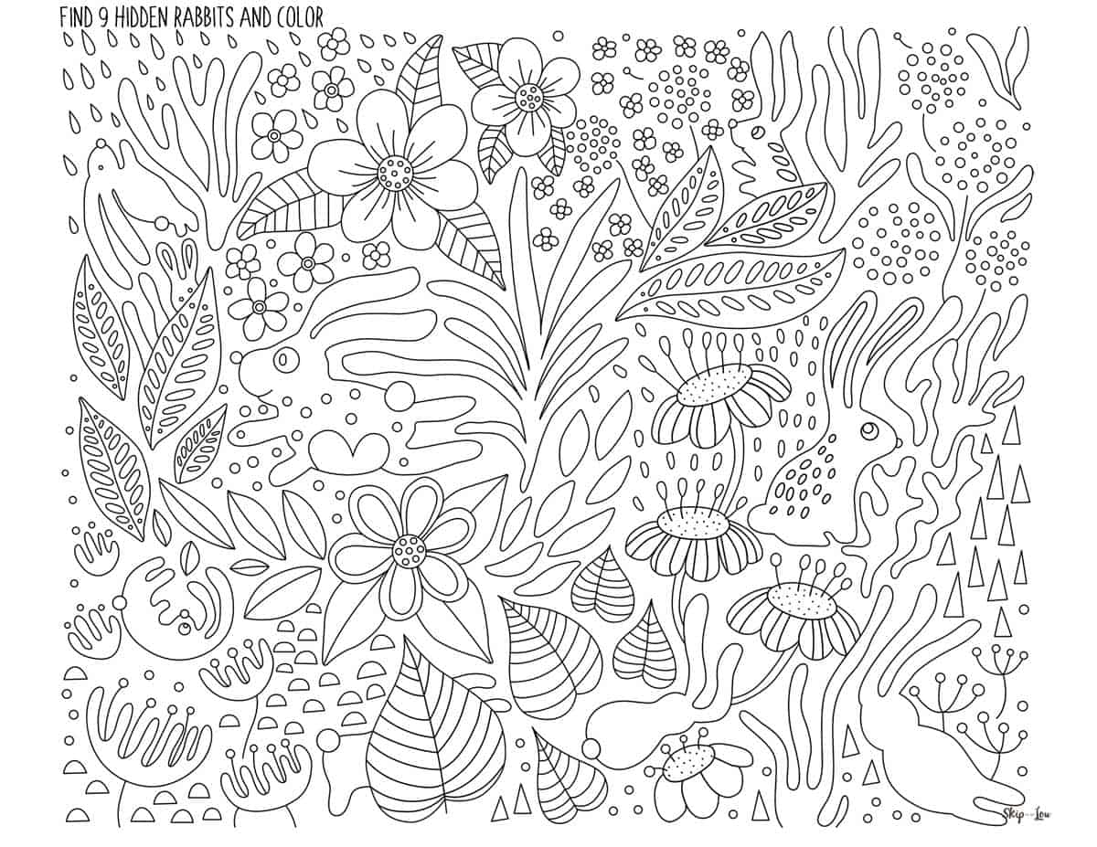 9 hidden rabbits hiding in coloring page