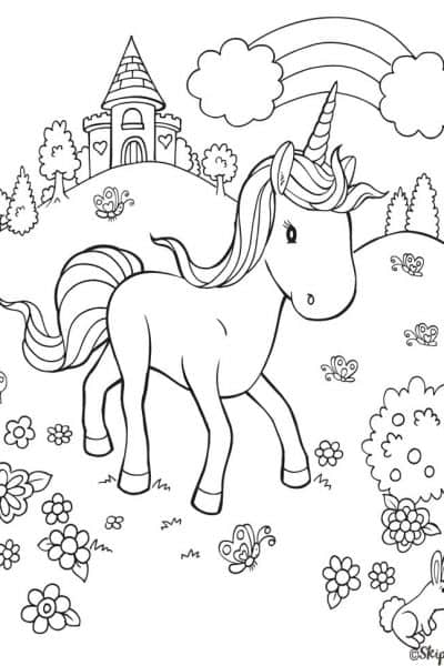 unicorn castle flowers rainbow coloring page