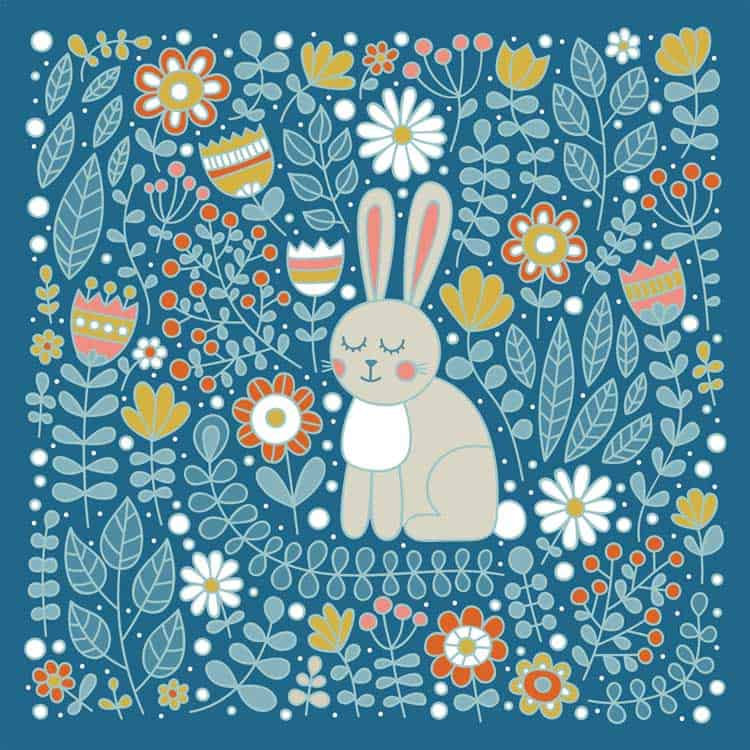 colored bunny with flowers coloring page