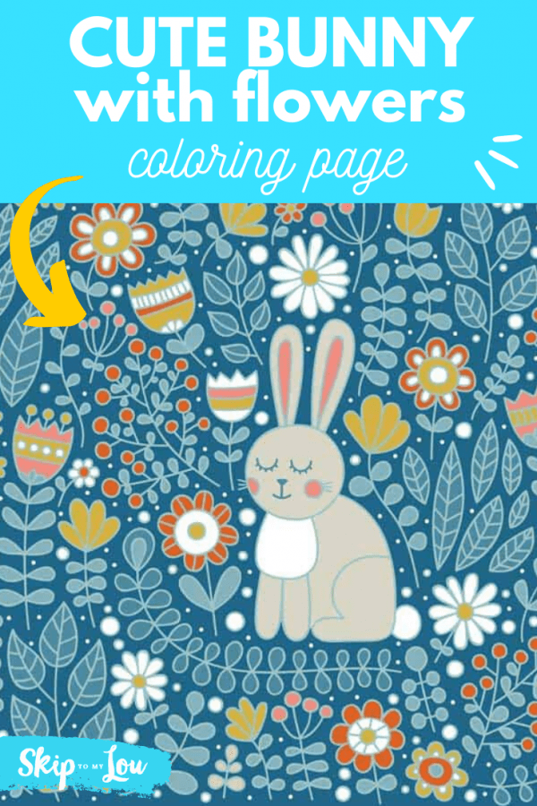 cute bunny with flowers coloring page PIN