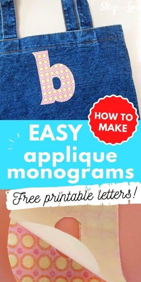 easy applique monograms free printable PIN