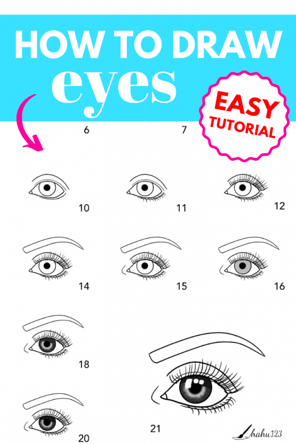 how to draw eyes tutorial PIN