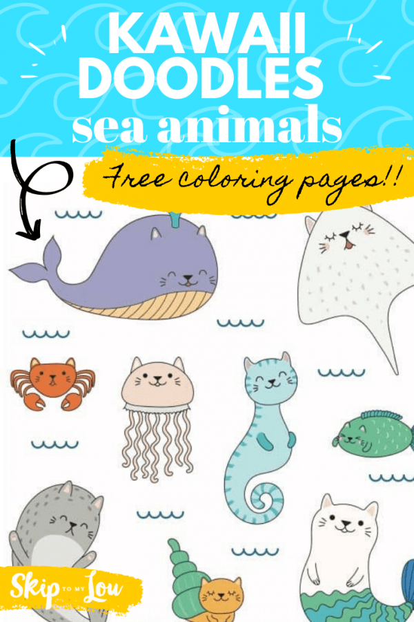 kawaii doodles coloring pages sea animals PIN
