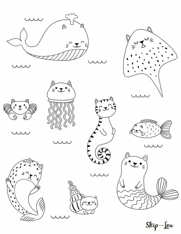 kawaii doodles funny sea animals with cat ears