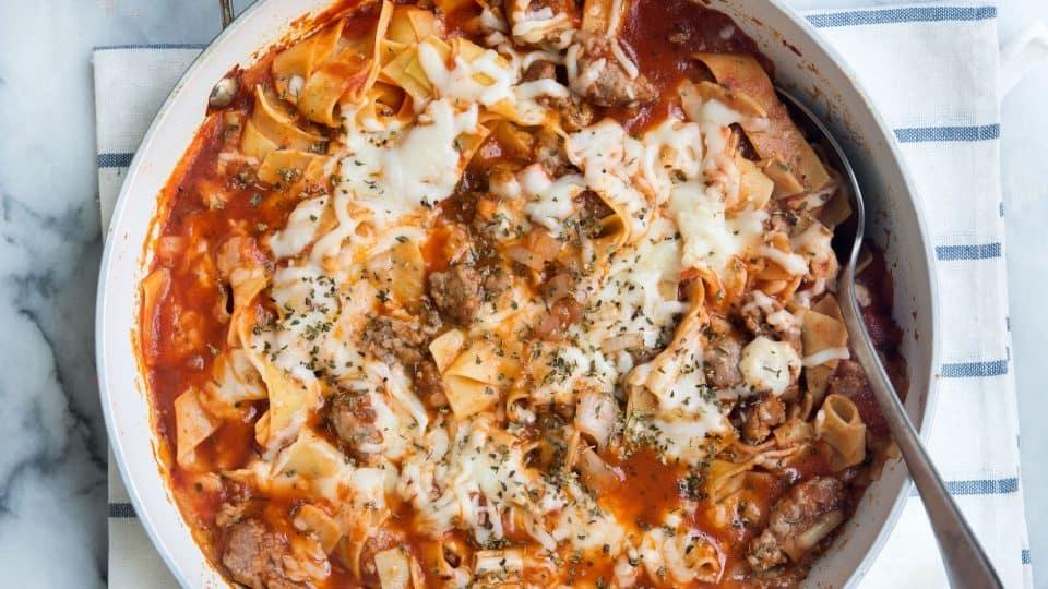 italian pasta in skillet