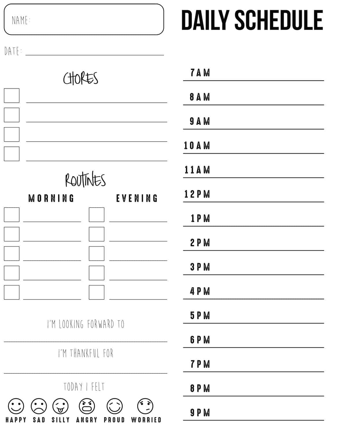 printed daily schedule