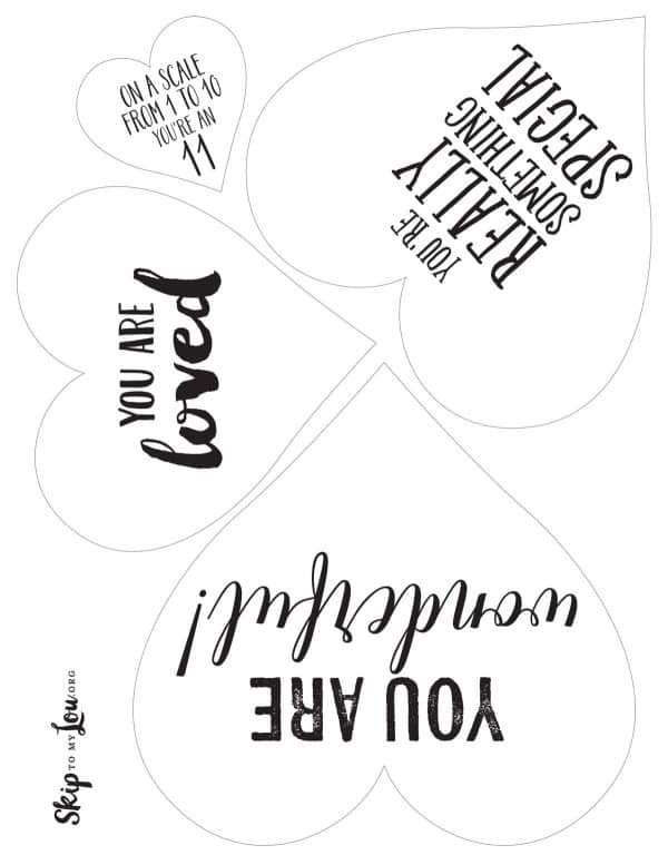 printable hearts with messages