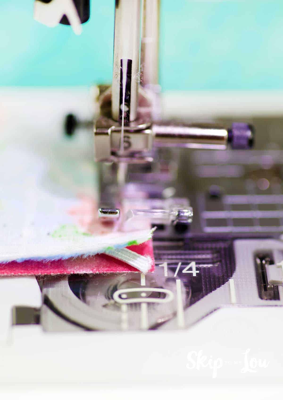 sewing machine stitching elastic at corner
