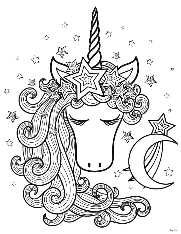 unicorn head with moon and stars
