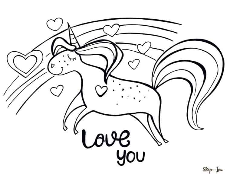 unicorn rainbow hearts saying love you