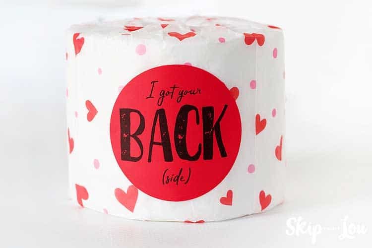 I got your back (side) tag on a roll of paper wrapped in heart tissue paper