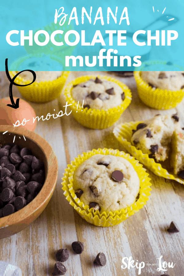 banana chocolate chip muffins PIN