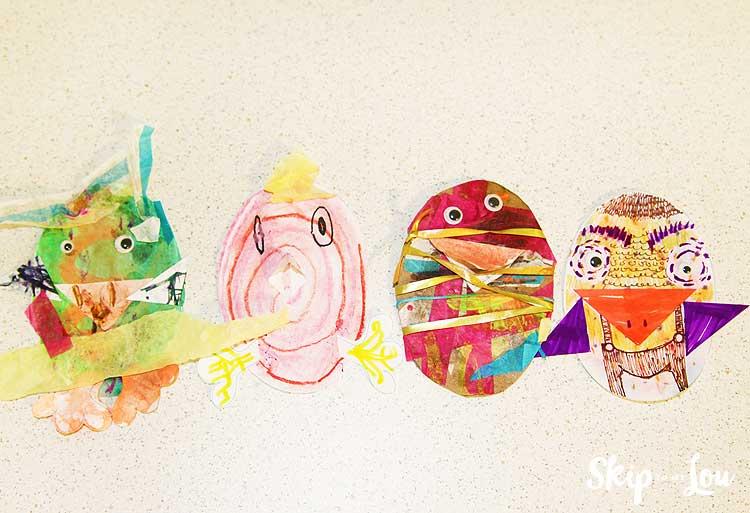 paper chicks made by preschooler