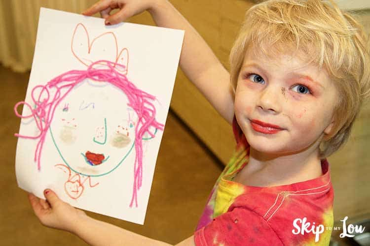 child holding make up face printable
