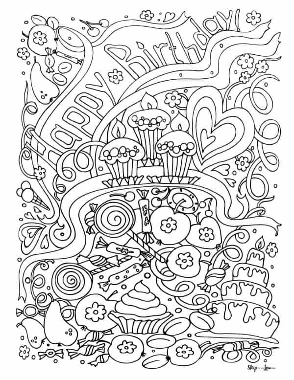 detailed happy birthday coloring page