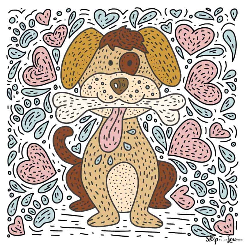 colored dog holding bone coloring page