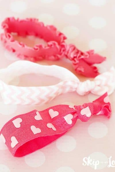pink heart pink chevron and pink ruffled elastic hair ties