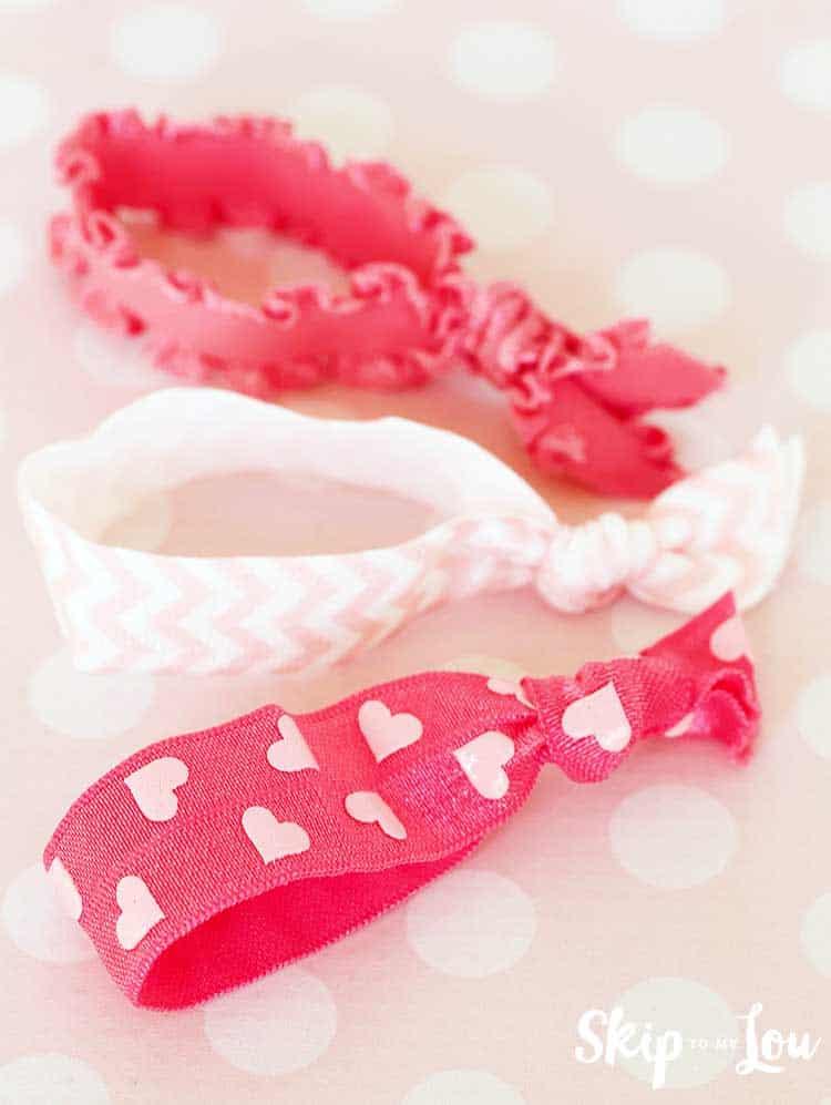 pink heart pink chevron and pink ruffled elastic hair ties