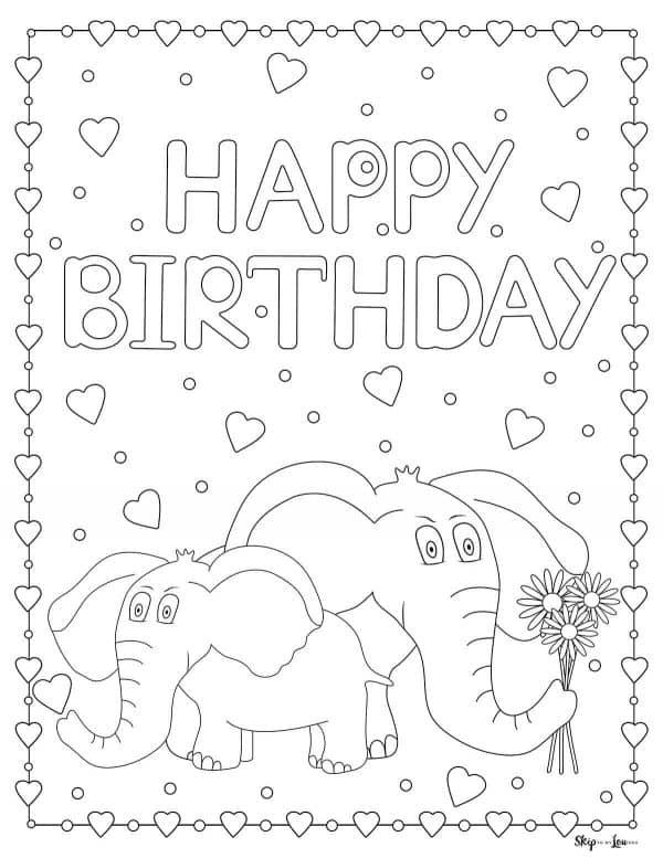 Elephant Birthday Page