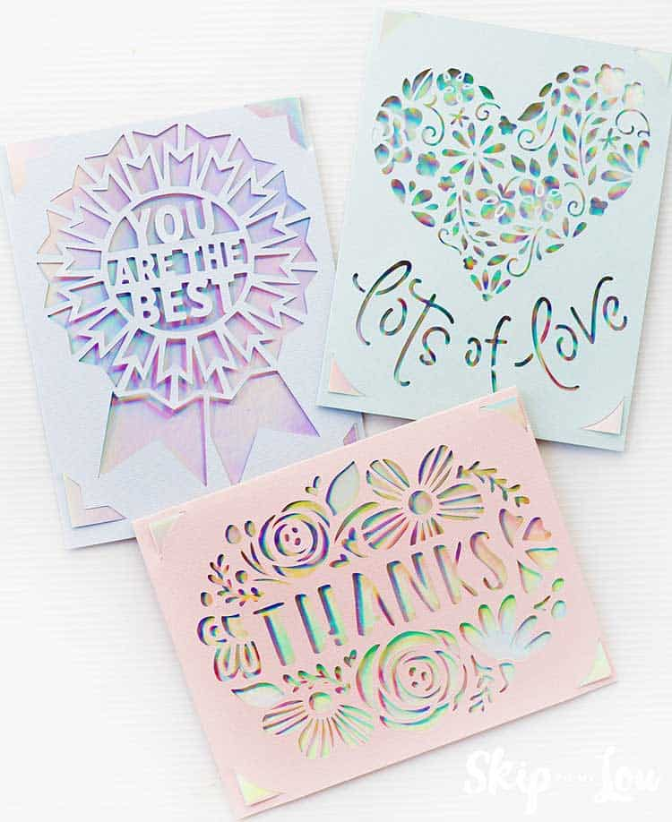 three cricut joy greeting cards