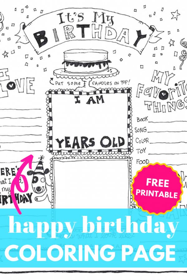 happy birthday coloring page printable PIN