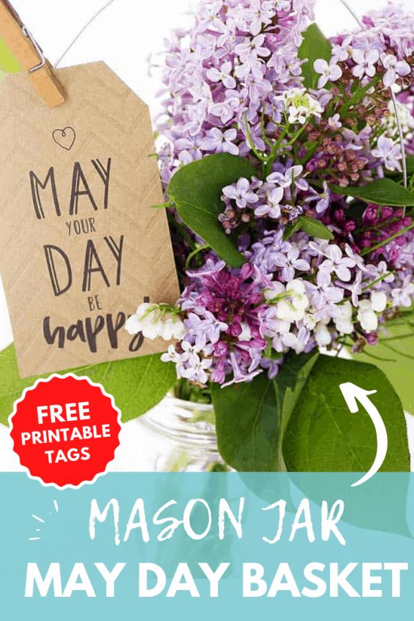 mason jar may day basket printable tags PIN