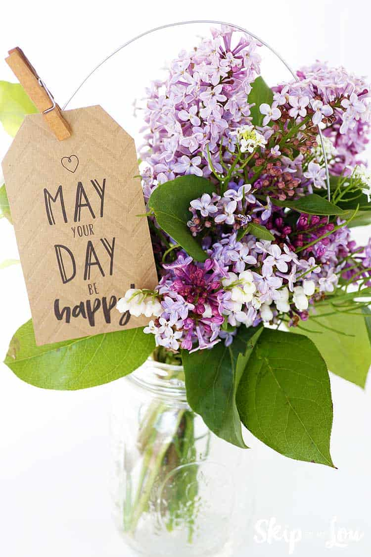 flowers in mason jar may your day be happy tag