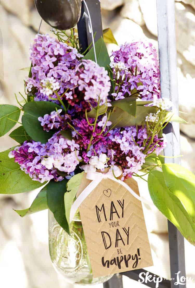 may day basket hanging on a knob