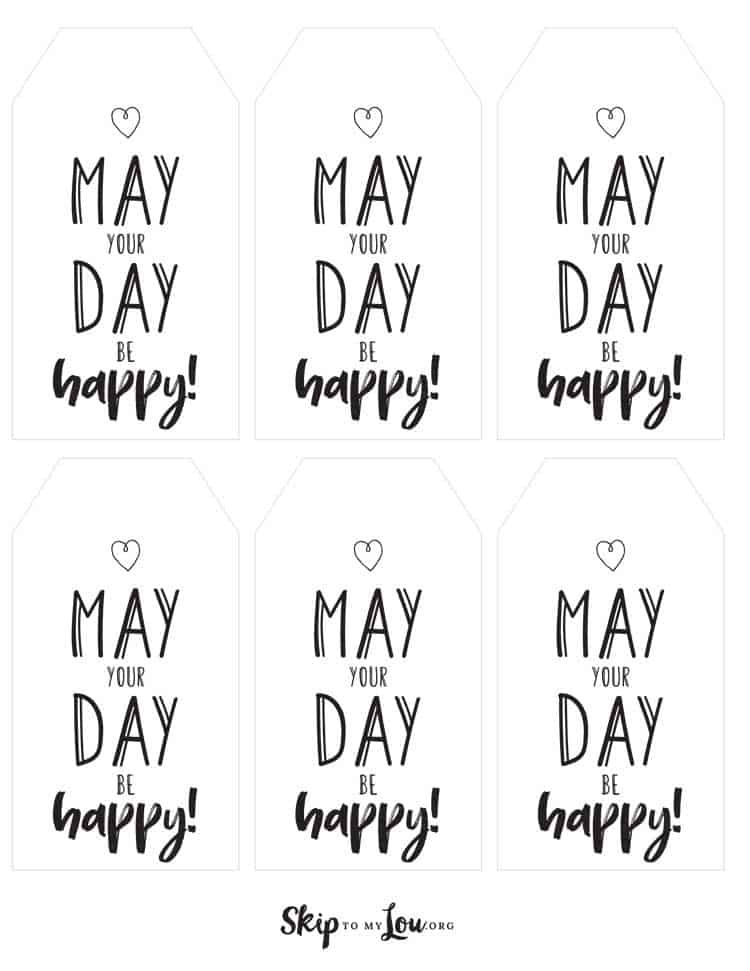 black and white printable may day tags