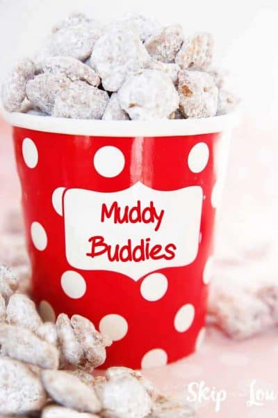 Muddy Buddies in red dot paper container