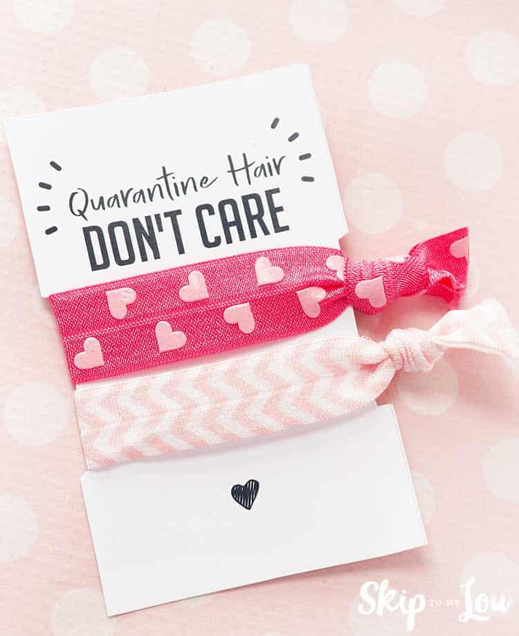 coronavirus hair don't care printable with hair ties