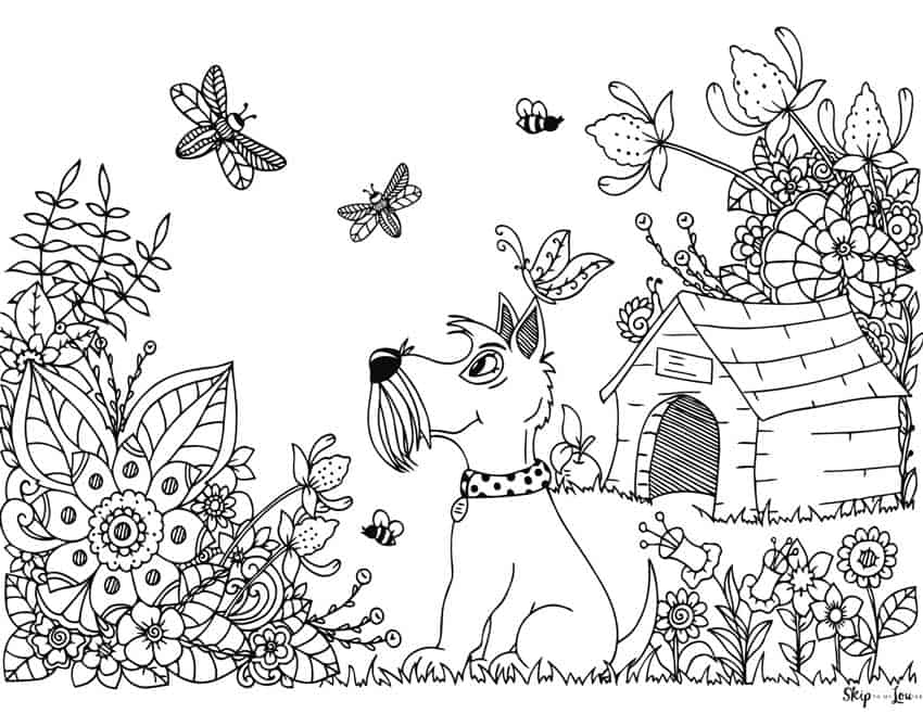 dog flowers dog house coloring page