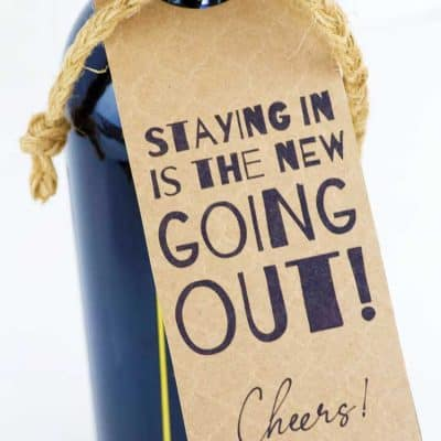bottle of wine with kraft colored tag