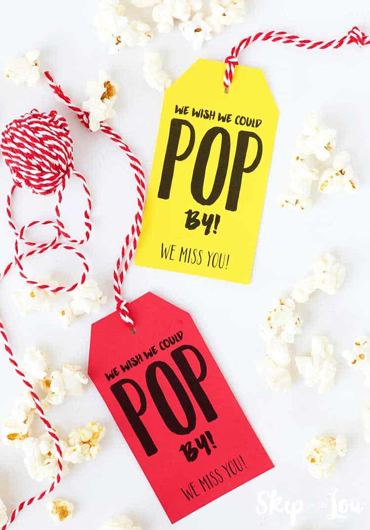 wish we could pop by gift tag with popped corn around the sides