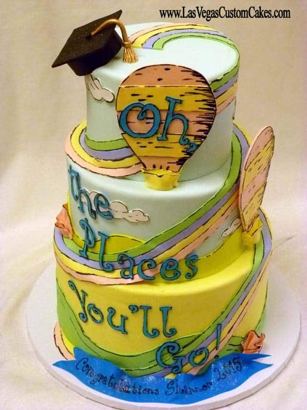 Dr seuss theme cake oh the places you'll go