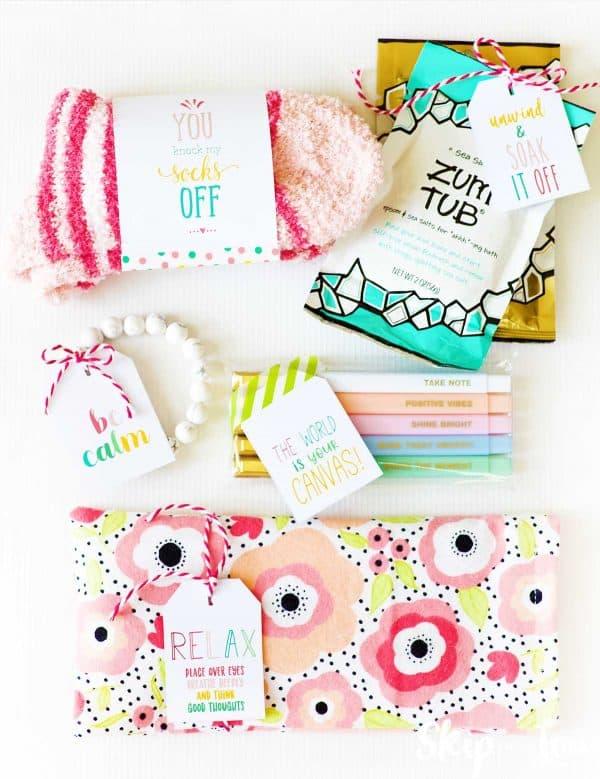 socks bath salts eye pillow bracelets pens gifts