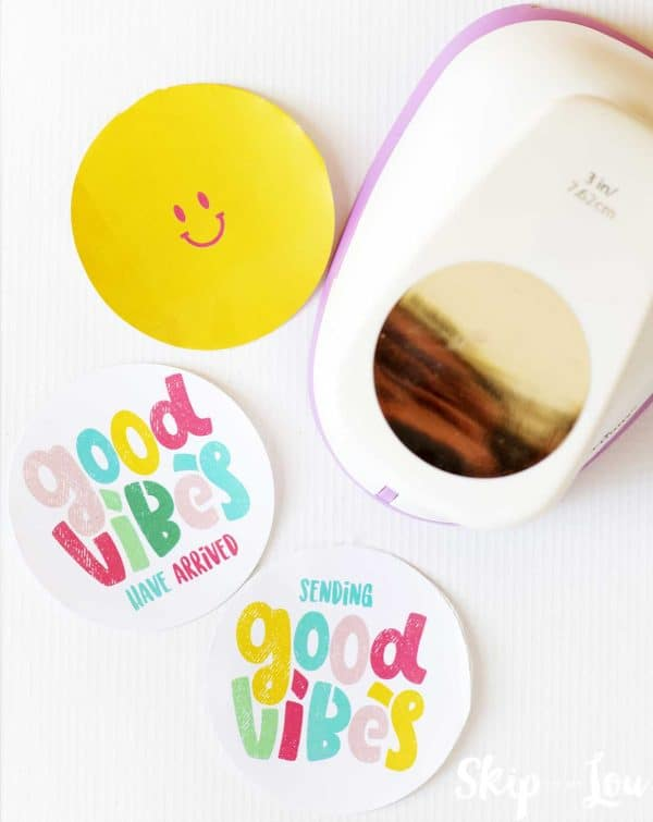 good vibes stickers with 3 inch circle punch