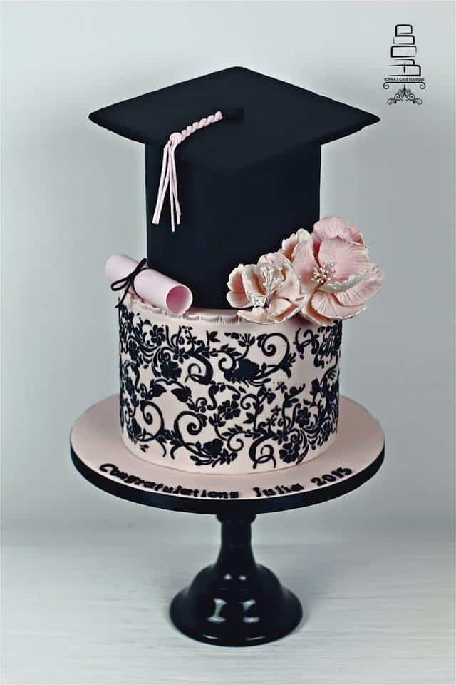 tired cake cap on top second layer black pink damask