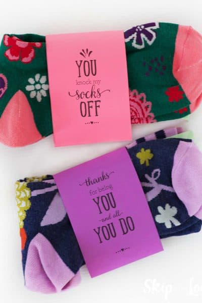 colorful socks with printable band that says you knock my socks off