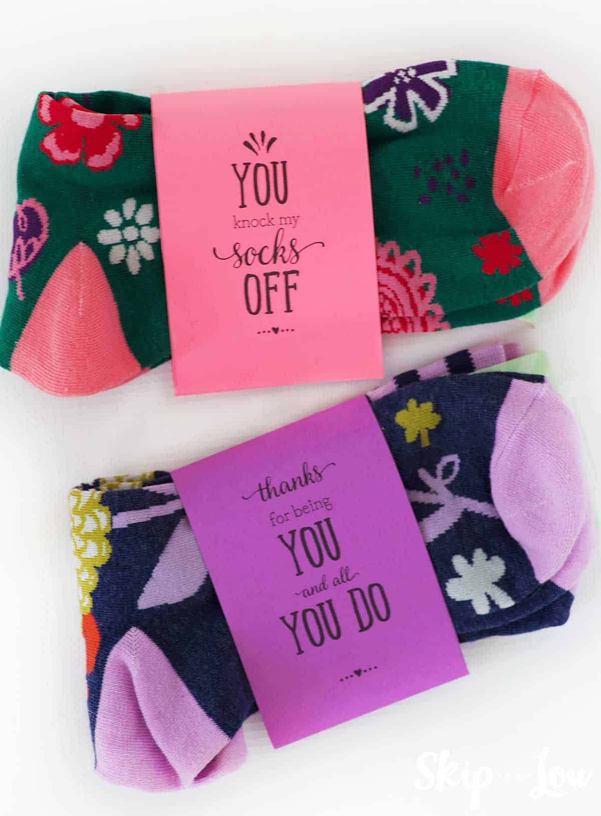 colorful socks with printable band that says you knock my socks off