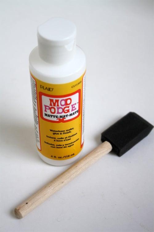 bottle mod podge and foam brush