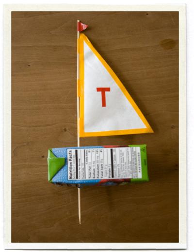 Decorated Juice Box Sailboat