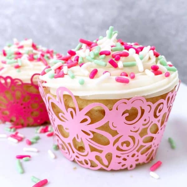 cupcake with sprinkles in pink cupcake wrapper