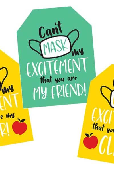 collage of face mask gift tags