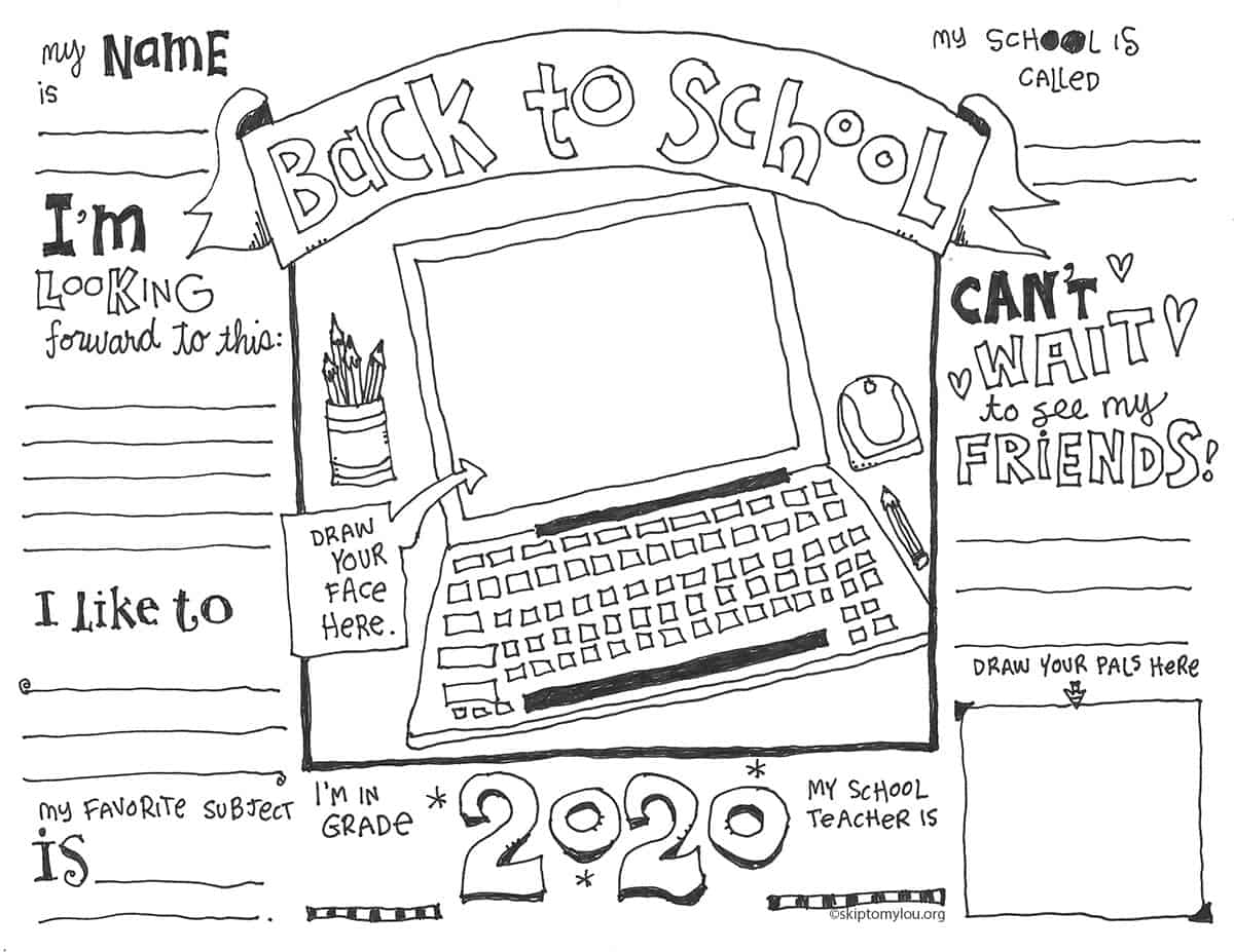 coloring page for virtual back to school