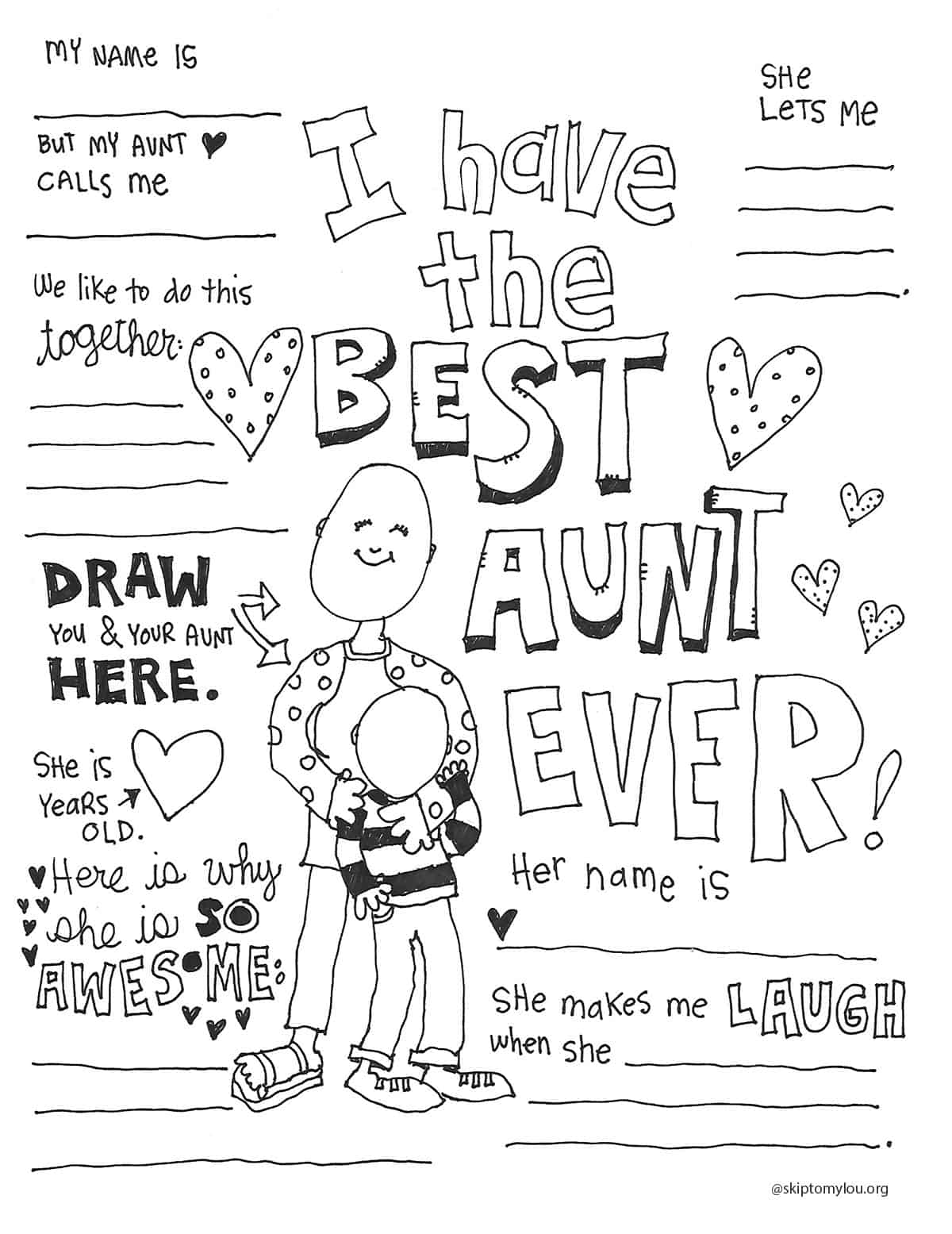 best aunt printable coloring page