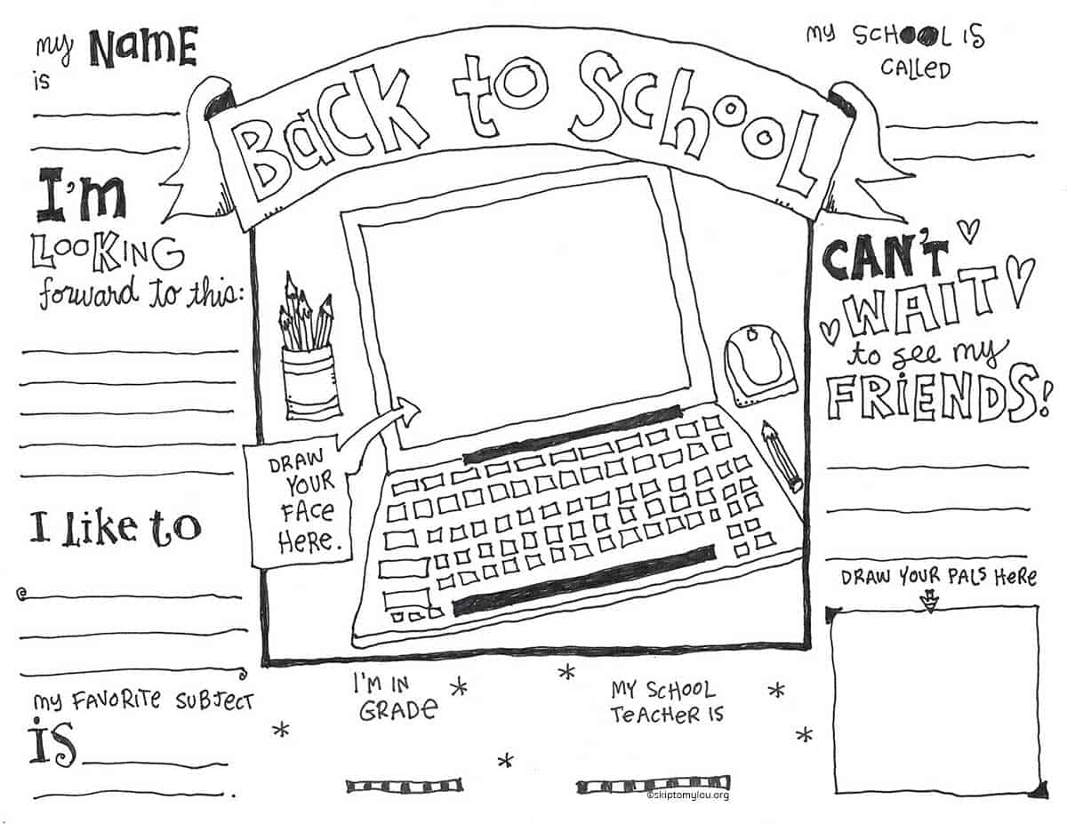 back to school coloring page virtual